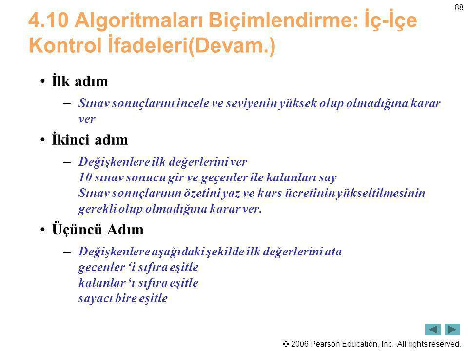 4.10 Algoritmaları Biçimlendirme: İç-İçe Kontrol İfadeleri(Devam.)