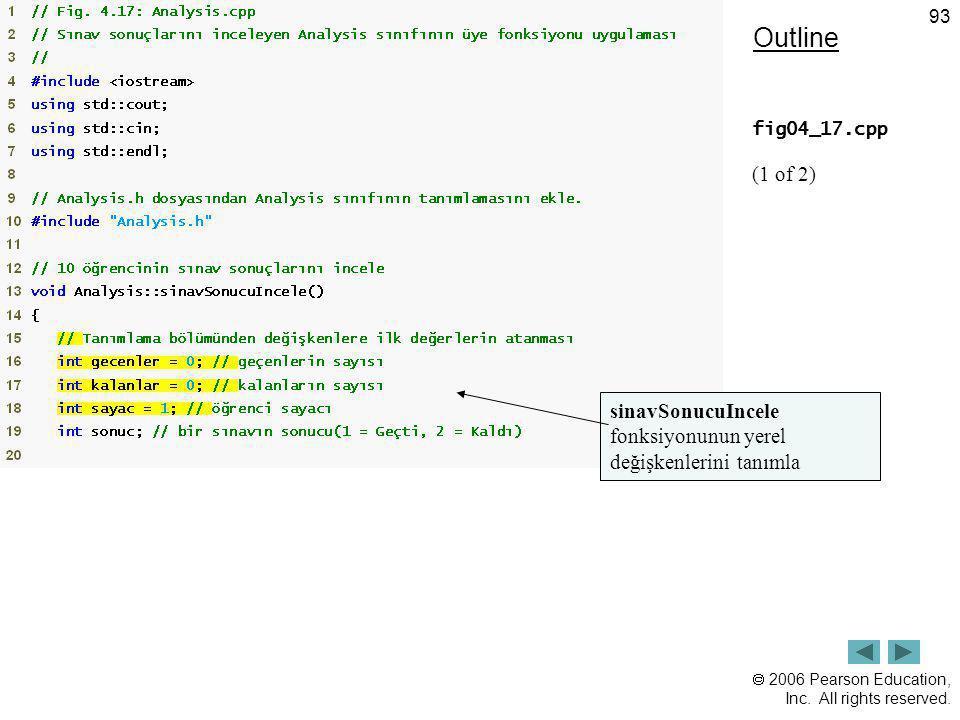 Outline fig04_17.cpp (1 of 2) sinavSonucuIncele fonksiyonunun yerel değişkenlerini tanımla