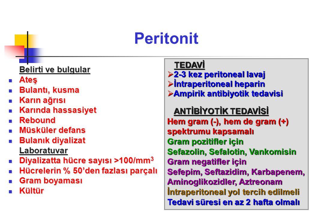 Peritonit Belirti ve bulgular TEDAVİ 2-3 kez peritoneal lavaj Ateş