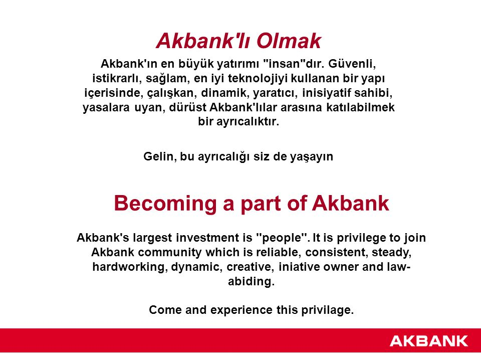 Becoming a part of Akbank