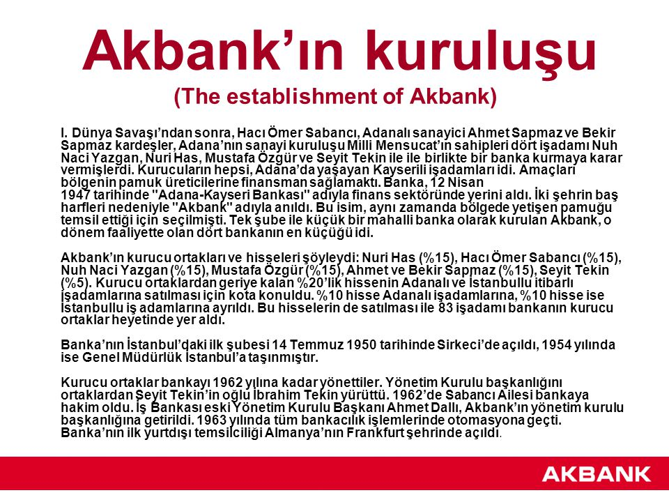 Akbank'ın kuruluşu (The establishment of Akbank)