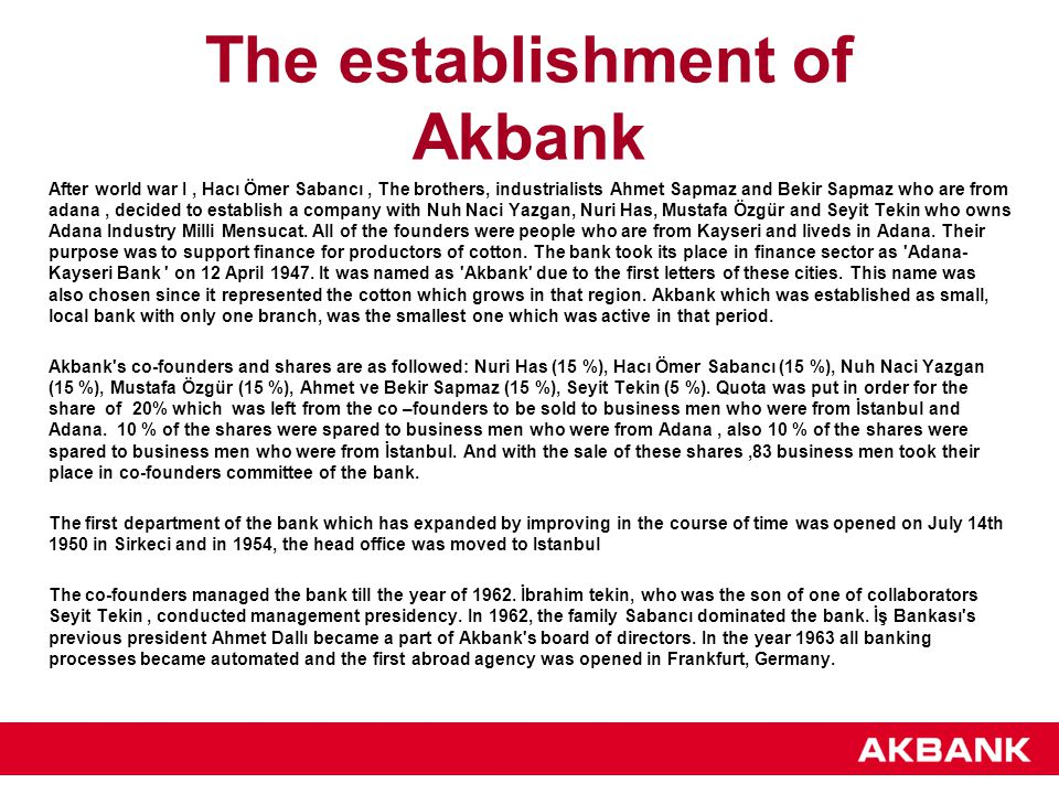The establishment of Akbank