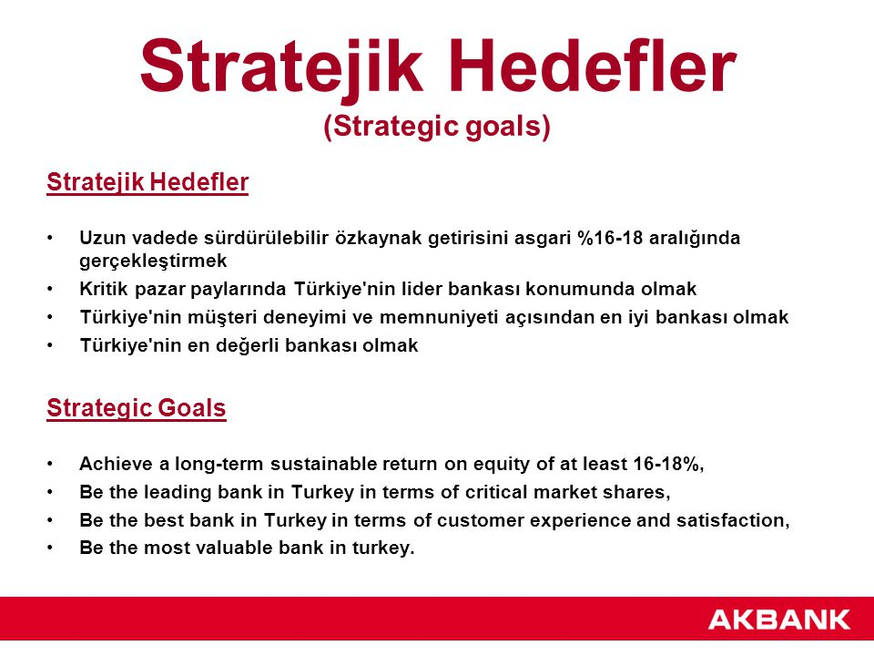 Stratejik Hedefler (Strategic goals)