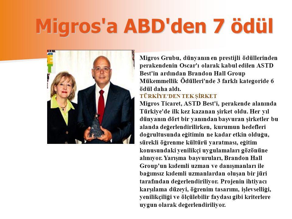 Migros a ABD den 7 ödül