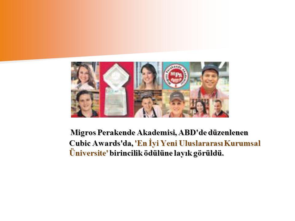 Migros Perakende Akademisi, ABD de düzenlenen Cubic Awards da, En İyi Yeni Uluslararası Kurumsal Üniversite birincilik ödülüne layık görüldü.