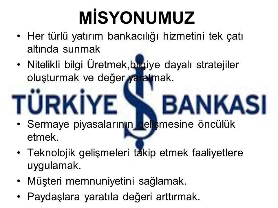 MİSYONUMUZ Her türlü yatırım bankacılığı hizmetini tek çatı altında sunmak.