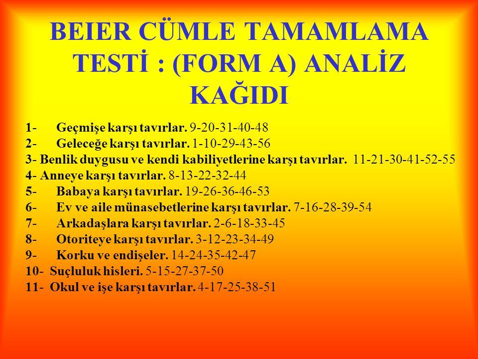 BEIER CÜMLE TAMAMLAMA TESTİ : (FORM A) ANALİZ KAĞIDI