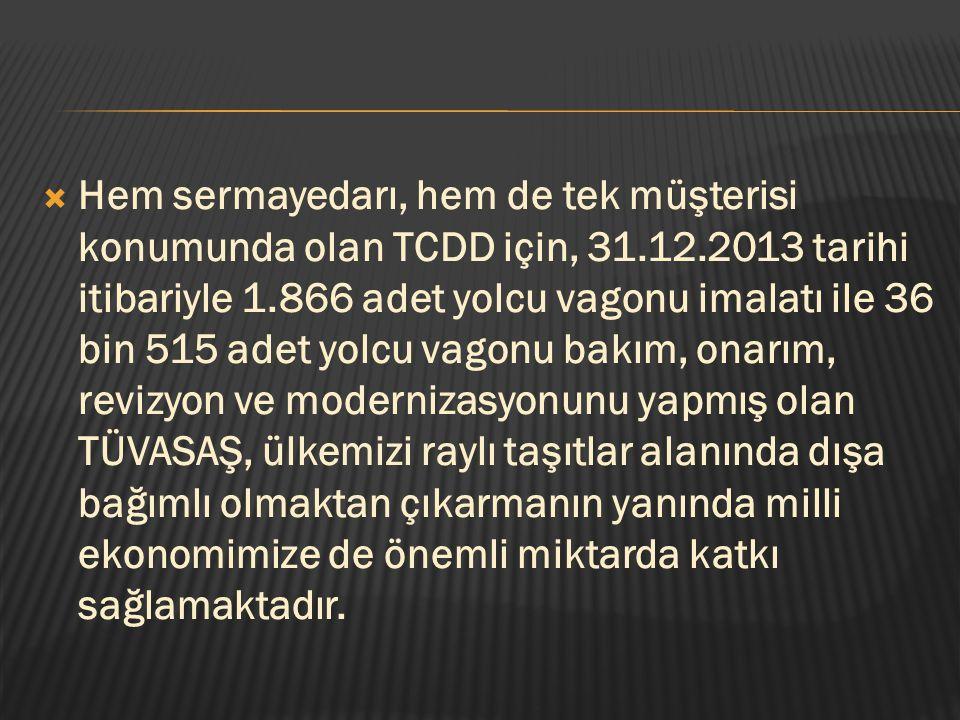 Hem sermayedarı, hem de tek müşterisi konumunda olan TCDD için, 31. 12
