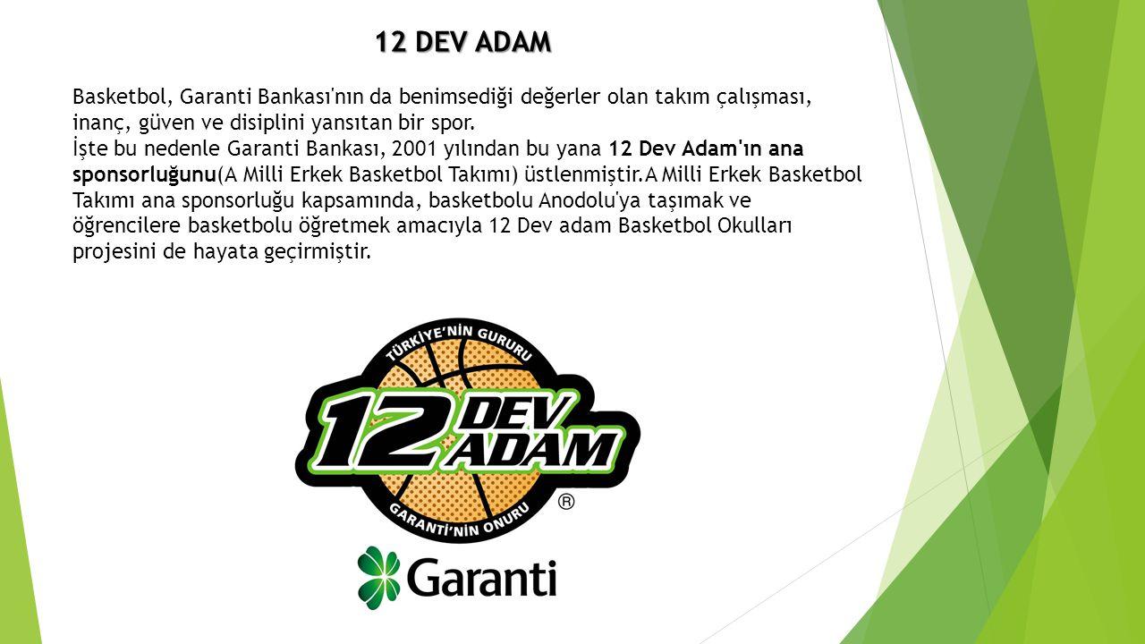 12 DEV ADAM Basketbol, Garanti Bankası nın da benimsediği değerler olan takım çalışması, inanç, güven ve disiplini yansıtan bir spor.