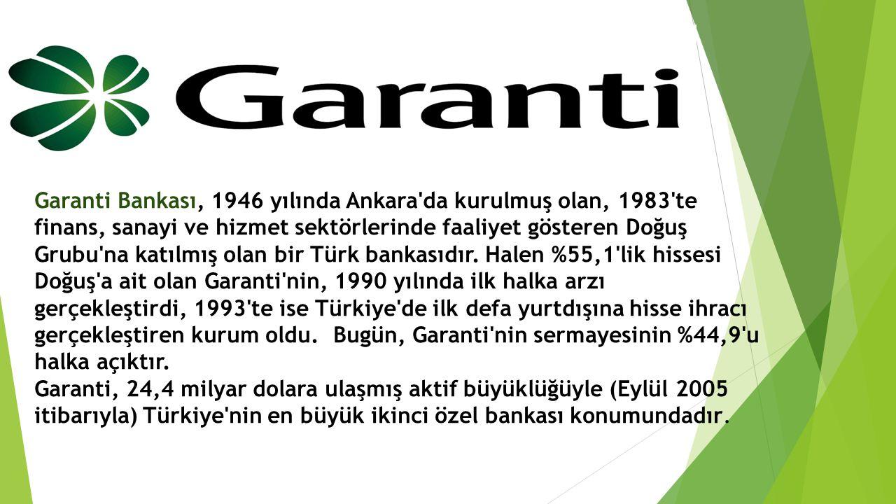 Garanti Bankası, 1946 yılında Ankara da kurulmuş olan, 1983 te finans, sanayi ve hizmet sektörlerinde faaliyet gösteren Doğuş Grubu na katılmış olan bir Türk bankasıdır.