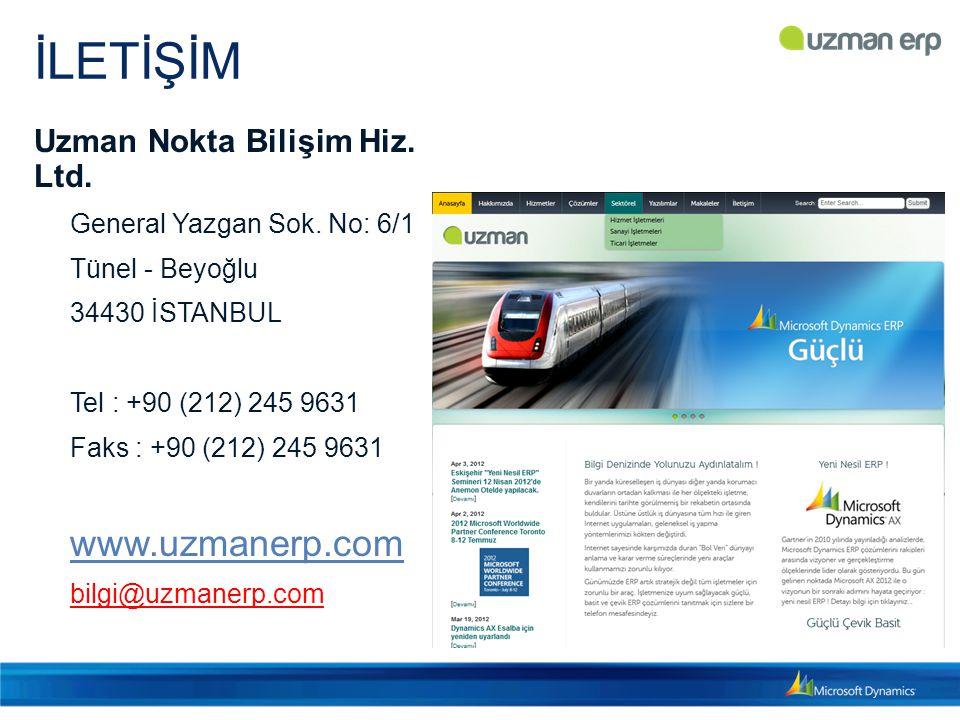 İLETİŞİM www.uzmanerp.com Uzman Nokta Bilişim Hiz. Ltd.