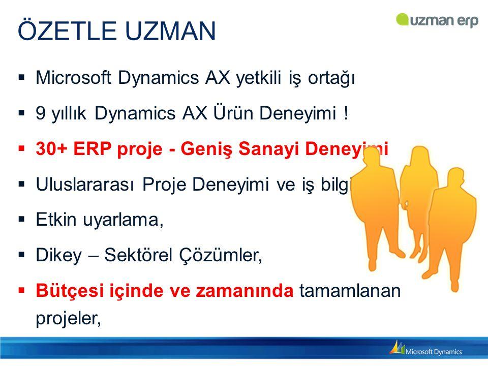 ÖZETLE UZMAN Microsoft Dynamics AX yetkili iş ortağı
