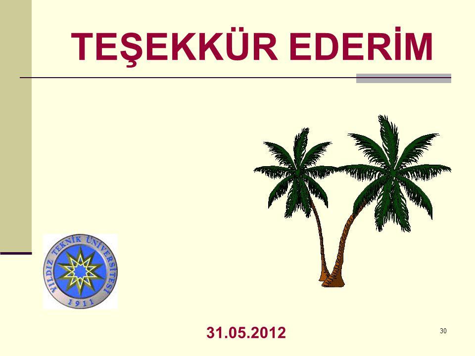 TEŞEKKÜR EDERİM 31.05.2012