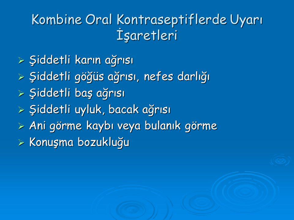 Kombine Oral Kontraseptiflerde Uyarı İşaretleri