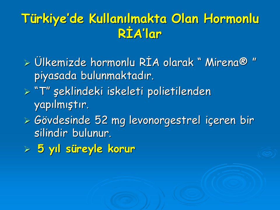 Türkiye'de Kullanılmakta Olan Hormonlu RİA'lar