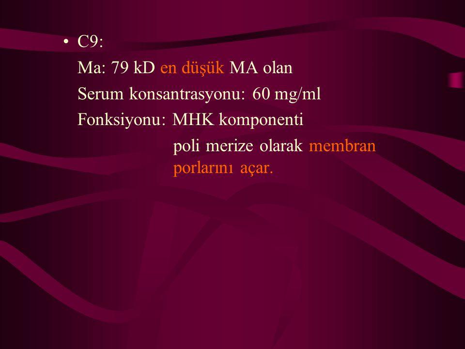 C9: Ma: 79 kD en düşük MA olan. Serum konsantrasyonu: 60 mg/ml.