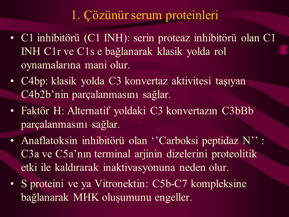 1. Çözünür serum proteinleri