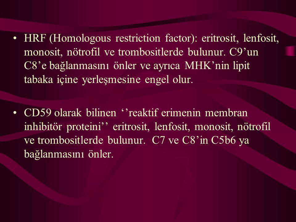 HRF (Homologous restriction factor): eritrosit, lenfosit, monosit, nötrofil ve trombositlerde bulunur. C9'un C8'e bağlanmasını önler ve ayrıca MHK'nin lipit tabaka içine yerleşmesine engel olur.