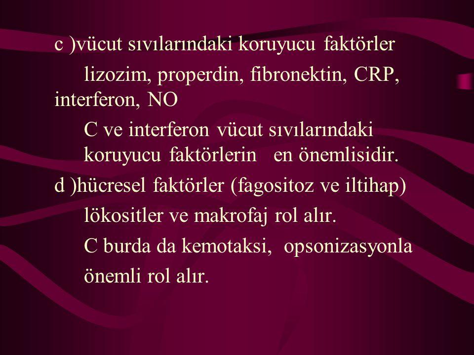 c )vücut sıvılarındaki koruyucu faktörler