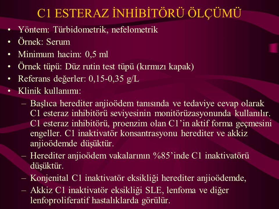 C1 ESTERAZ İNHİBİTÖRÜ ÖLÇÜMÜ