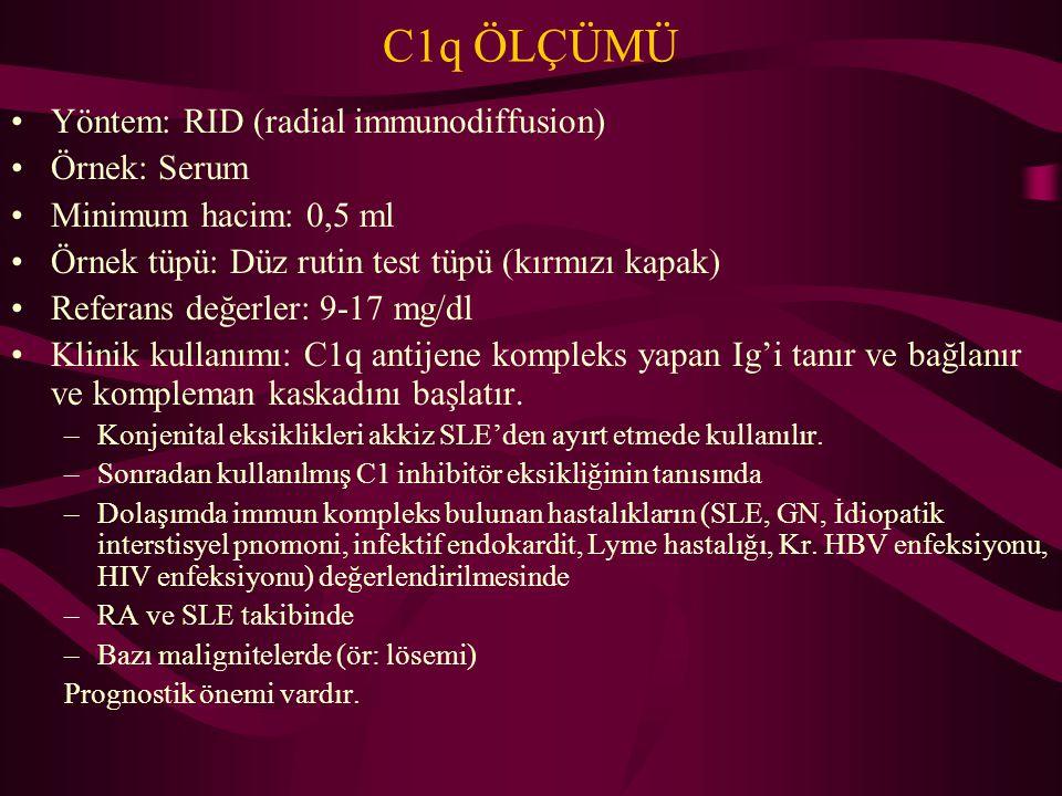 C1q ÖLÇÜMÜ Yöntem: RID (radial immunodiffusion) Örnek: Serum