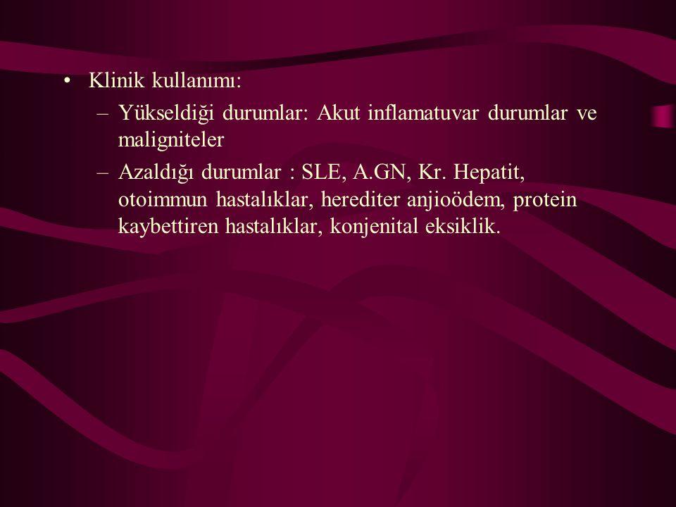 Klinik kullanımı: Yükseldiği durumlar: Akut inflamatuvar durumlar ve maligniteler.
