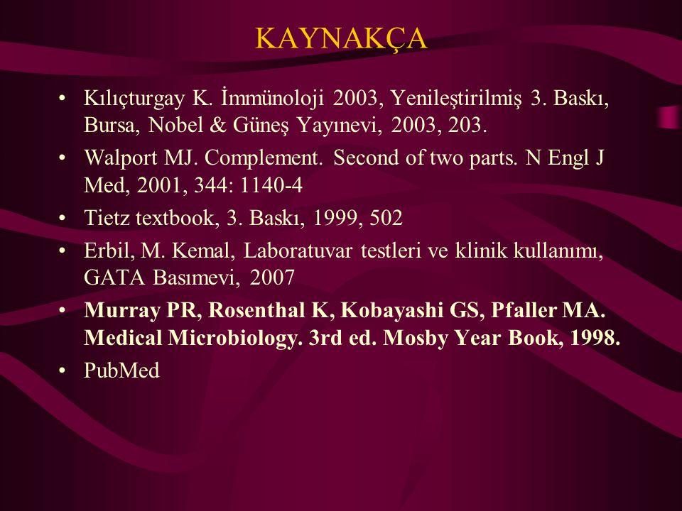 KAYNAKÇA Kılıçturgay K. İmmünoloji 2003, Yenileştirilmiş 3. Baskı, Bursa, Nobel & Güneş Yayınevi, 2003, 203.