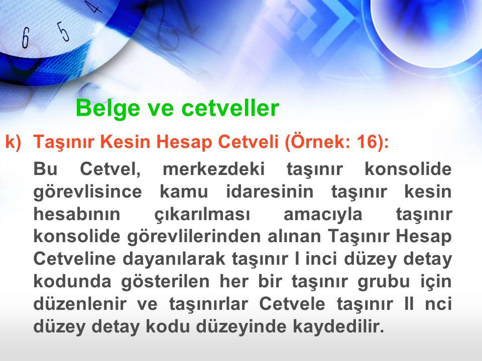 Belge ve cetveller k) Taşınır Kesin Hesap Cetveli (Örnek: 16):