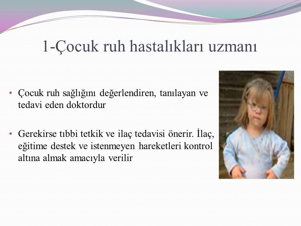 1-Çocuk ruh hastalıkları uzmanı