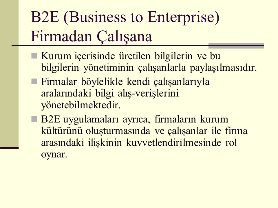 B2E (Business to Enterprise) Firmadan Çalışana