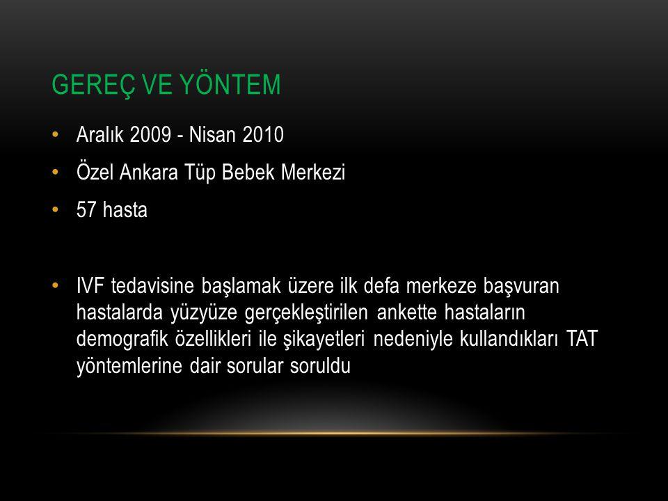 GEREÇ VE YÖNTEM Aralık 2009 - Nisan 2010 Özel Ankara Tüp Bebek Merkezi