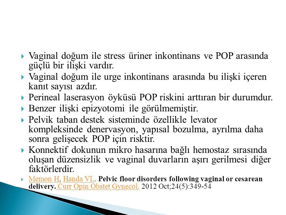 Perineal laserasyon öyküsü POP riskini arttıran bir durumdur.