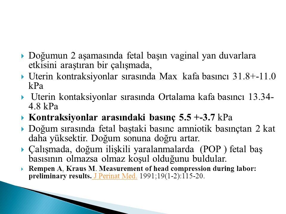 Uterin kontraksiyonlar sırasında Max kafa basıncı 31.8+-11.0 kPa