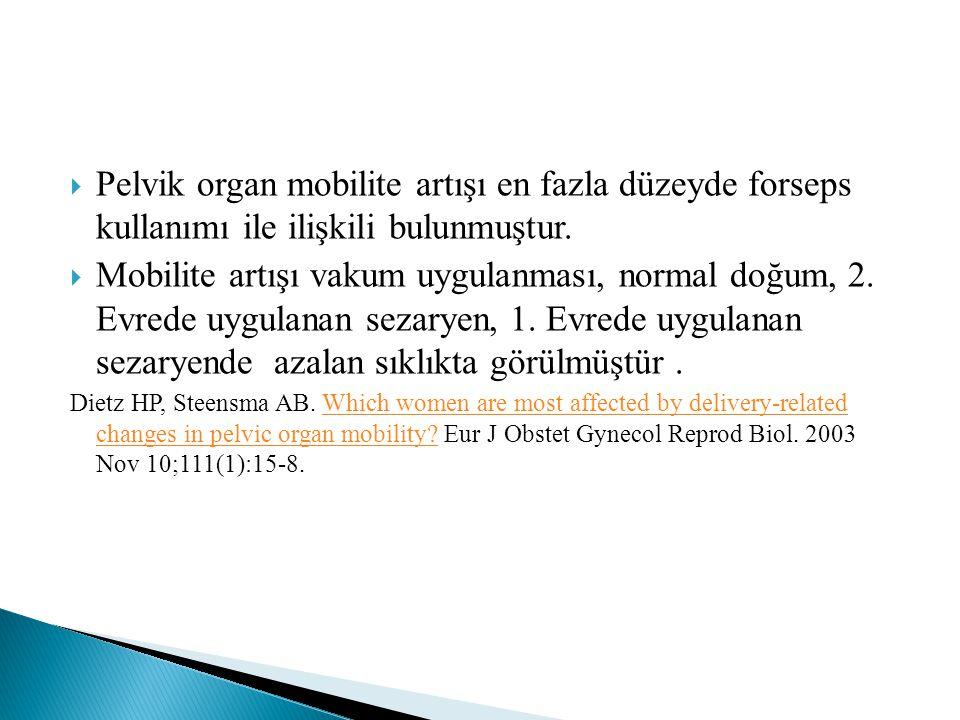 Pelvik organ mobilite artışı en fazla düzeyde forseps kullanımı ile ilişkili bulunmuştur.