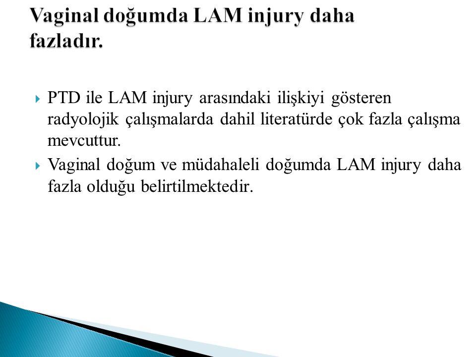 Vaginal doğumda LAM injury daha fazladır.