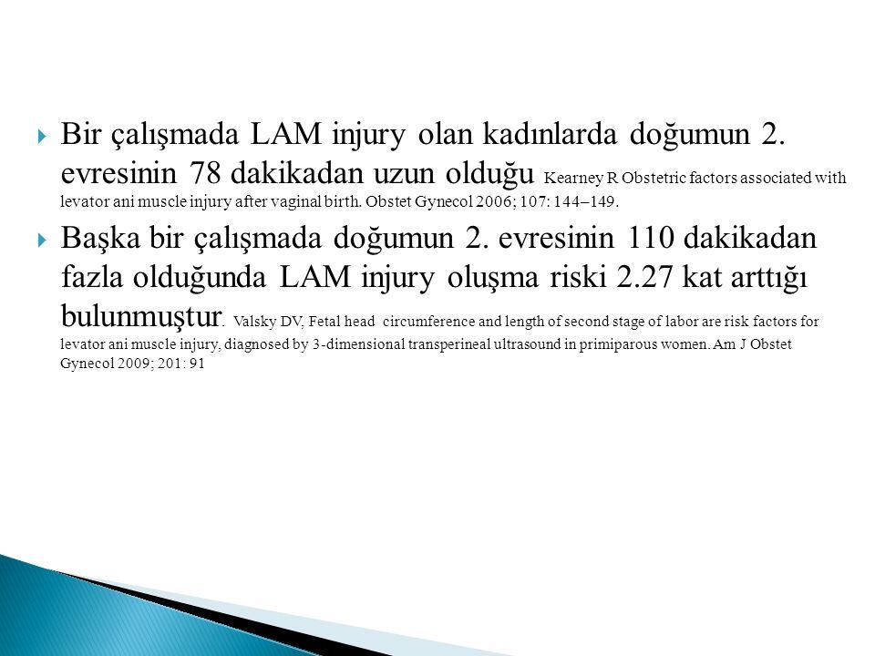 Bir çalışmada LAM injury olan kadınlarda doğumun 2