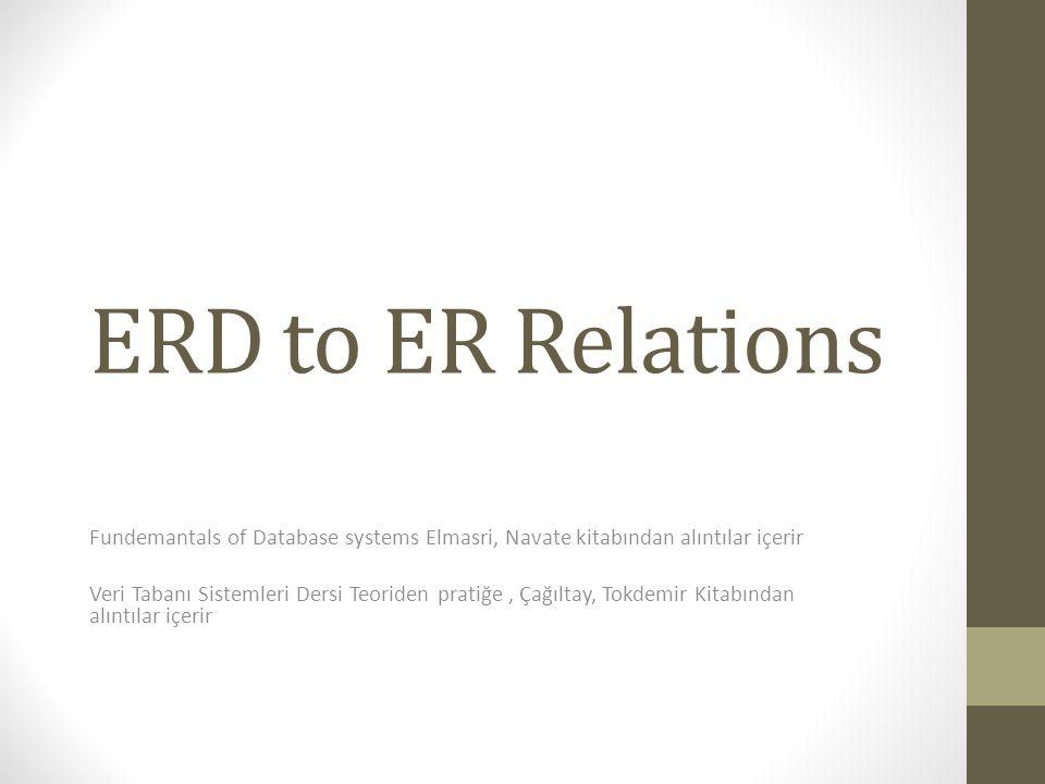 ERD to ER Relations Fundemantals of Database systems Elmasri, Navate kitabından alıntılar içerir.