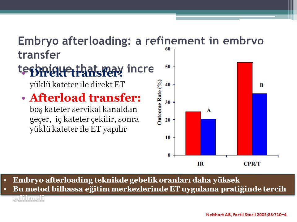 Direkt transfer: yüklü kateter ile direkt ET