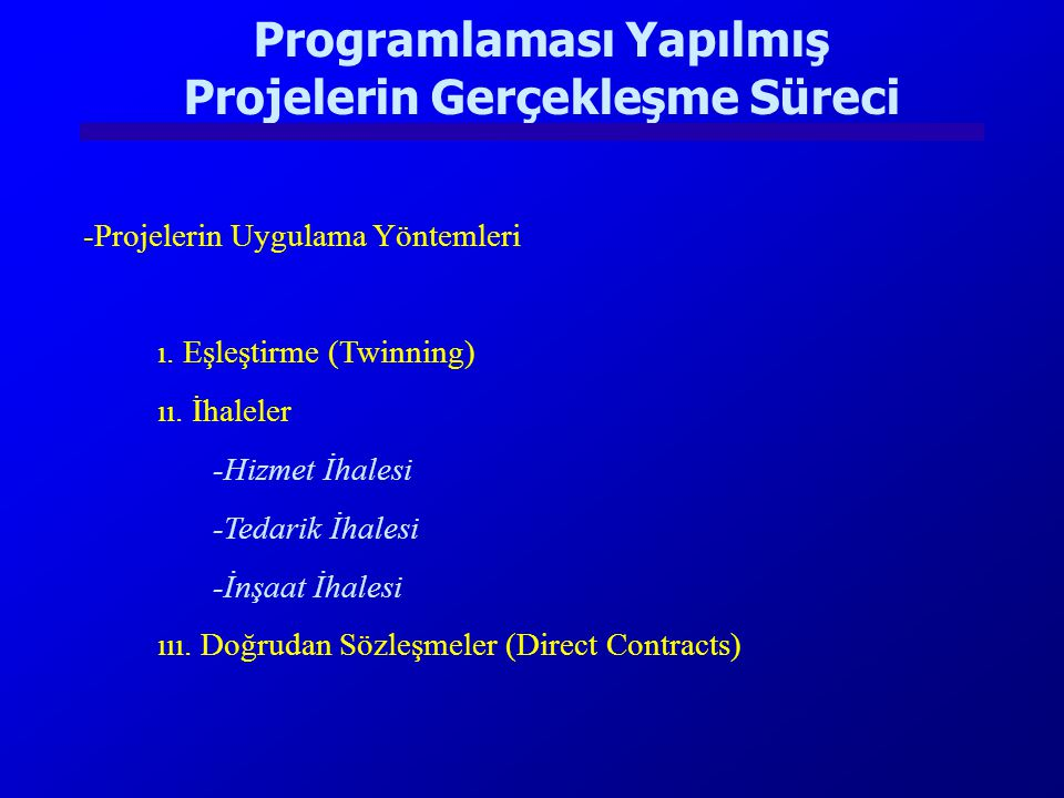 Programlaması Yapılmış Projelerin Gerçekleşme Süreci