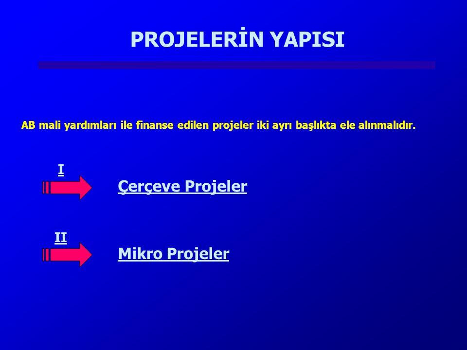 PROJELERİN YAPISI Çerçeve Projeler Mikro Projeler I II