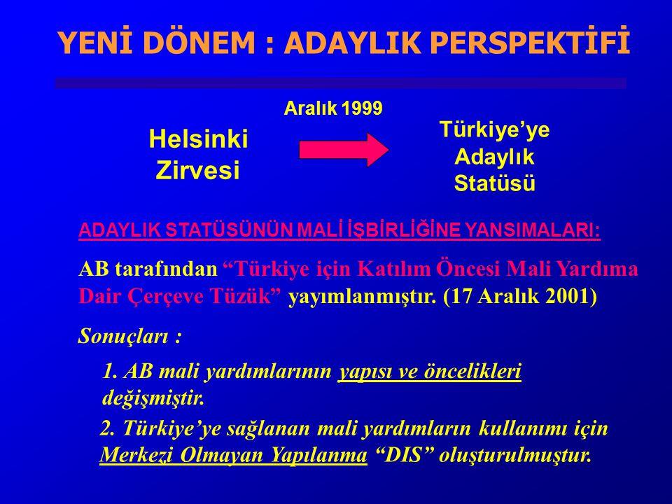 YENİ DÖNEM : ADAYLIK PERSPEKTİFİ Türkiye'ye Adaylık Statüsü