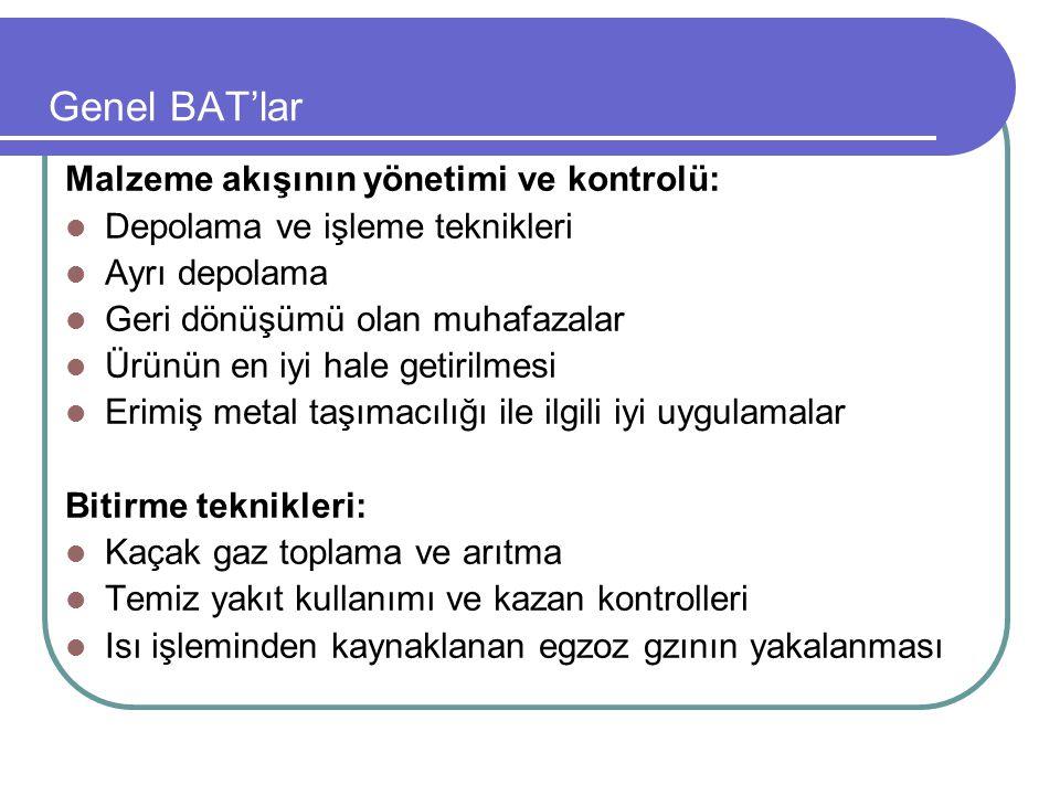 Genel BAT'lar Malzeme akışının yönetimi ve kontrolü: