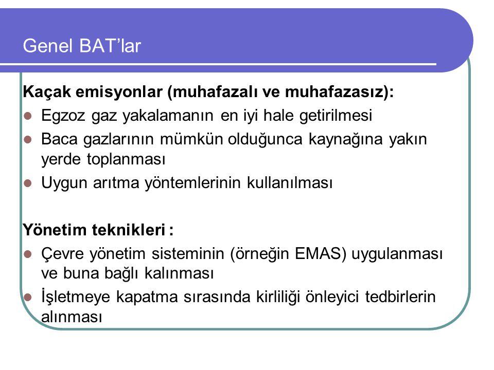 Genel BAT'lar Kaçak emisyonlar (muhafazalı ve muhafazasız):