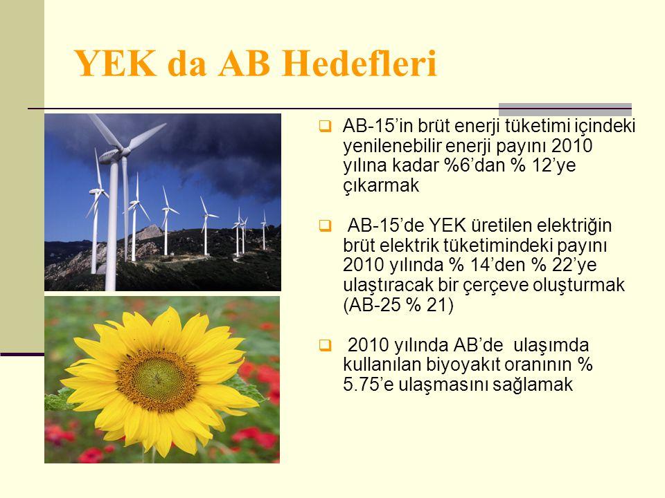 YEK da AB Hedefleri AB-15'in brüt enerji tüketimi içindeki yenilenebilir enerji payını 2010 yılına kadar %6'dan % 12'ye çıkarmak.