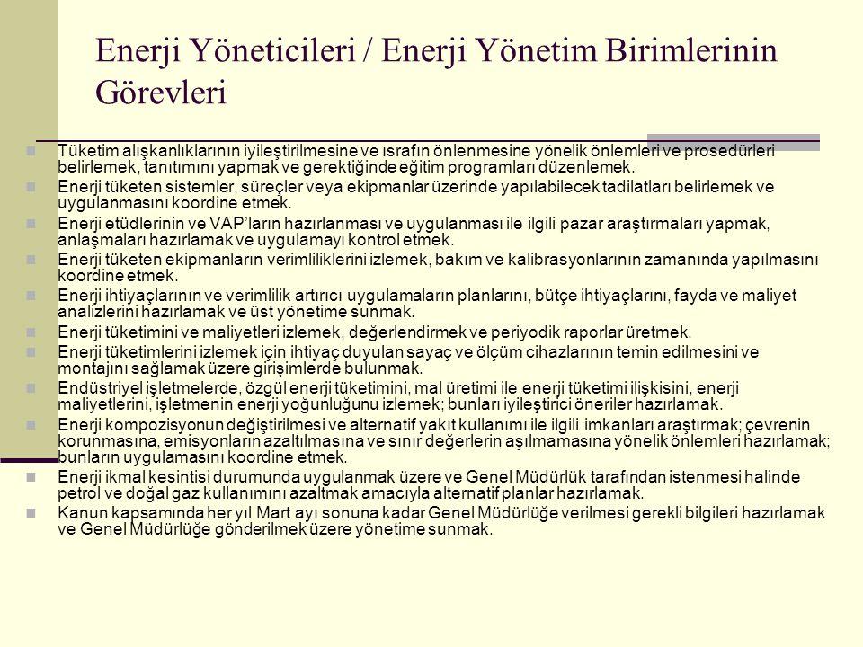 Enerji Yöneticileri / Enerji Yönetim Birimlerinin Görevleri