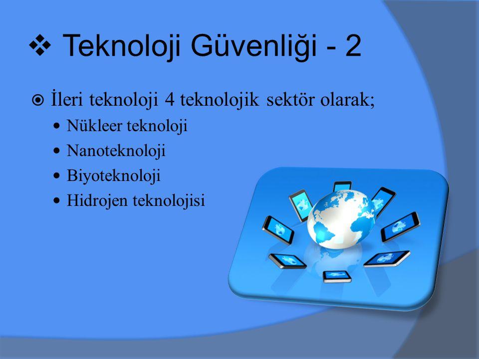 Teknoloji Güvenliği - 2 İleri teknoloji 4 teknolojik sektör olarak;