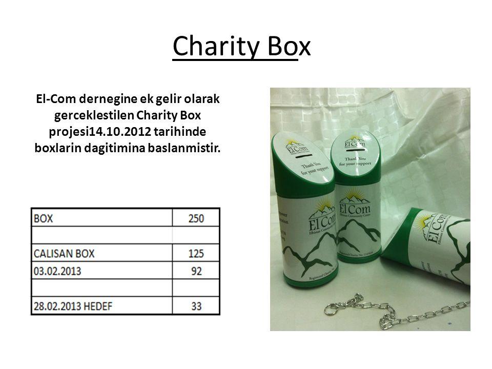 Charity Box El-Com dernegine ek gelir olarak gerceklestilen Charity Box projesi14.10.2012 tarihinde boxlarin dagitimina baslanmistir.