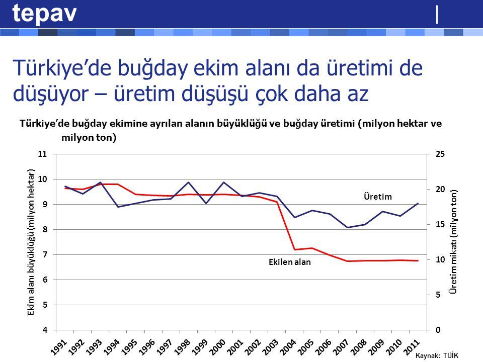 Türkiye'de buğday ekim alanı da üretimi de düşüyor – üretim düşüşü çok daha az Türkiye'de buğday ekimine ayrılan alanın büyüklüğü ve buğday üretimi (milyon hektar ve milyon ton)