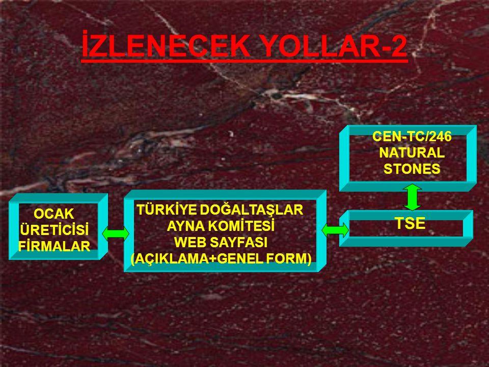 İZLENECEK YOLLAR-2 TSE CEN-TC/246 NATURAL STONES TÜRKİYE DOĞALTAŞLAR