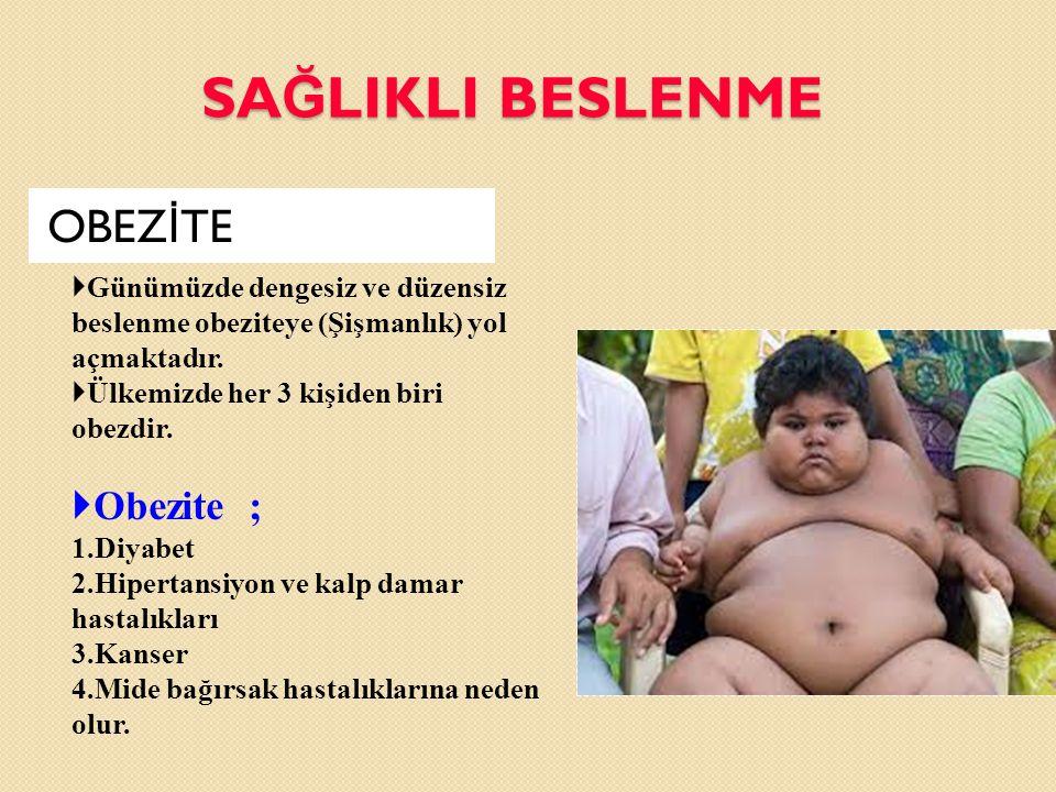 SAĞLIKLI BESLENME OBEZİTE Obezite ;